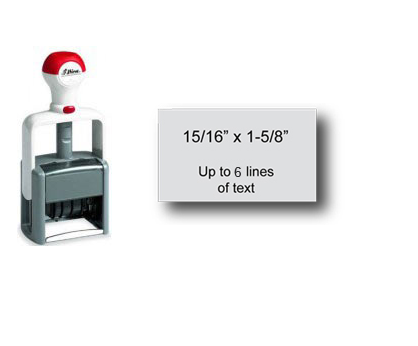 "Shiny Heavy Duty Self-Inking Stamp (15/16"" x 1-5/8"")"