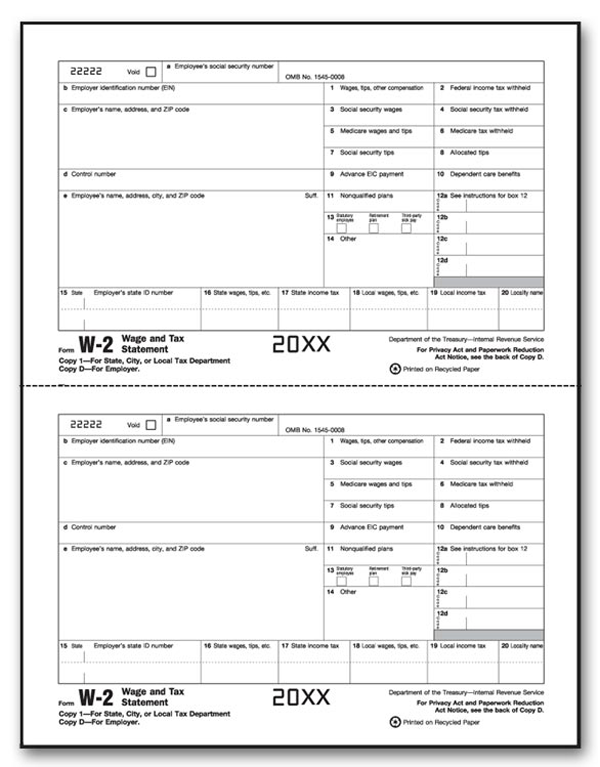 W-2 Individual Laser Sheets 2 Up Employer, State City, Local (Copy 1)