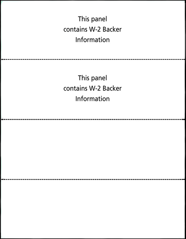 W-2 Blank Laser Forms, 4 UP (Horizontal)