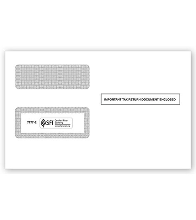 1099 2-Up Double-Window Envelope, Self-Seal