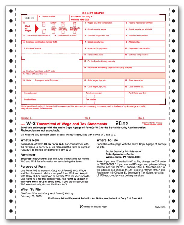 Continuous W-3 Transmittal (2- Part)